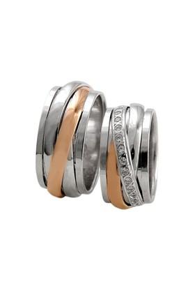Arjuna Gümüş Tek Taş El İşi Çift Alyans Al0623