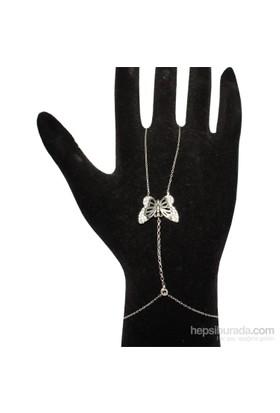 Nusret Takı 925 Ayar Gümüş Kelebek Şahmeran Bileklik - Beyaz Siyah