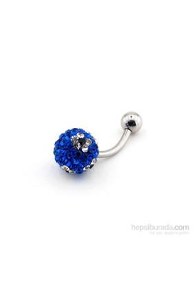 Solfera Mavi Taşlı Çiçek Göbek Piercing P244