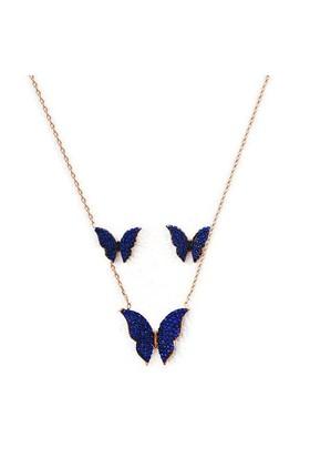 Beyazıt Takı 925 Ayar Gümüş Mavi Kelebek Kolye Küpe Set