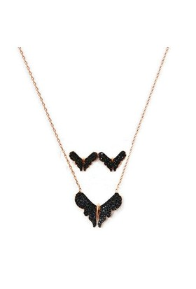 Beyazıt Takı 925 Ayar Gümüş Siyah Kelebek Küpe Kolye Seti