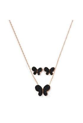 Beyazıt Takı 925 Ayar Gümüş Siyah Taşlı Kelebek Küpe Set