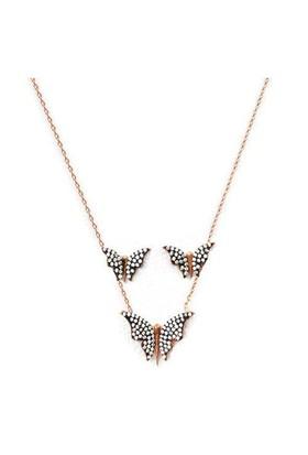 Beyazıt Takı 925 Ayar Gümüş Beyaz Taşlı Kelebek Küpe Kolye Set