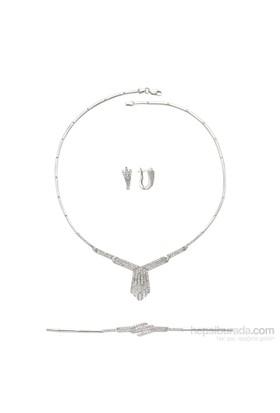 Olivin Accesories Gümüş Zirkon Taşlı Gerdanlık Set 433096