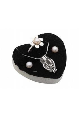 Love Pearl İstiridye İnci Kolye Küpe Yüzük Set
