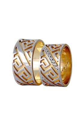 Arjuna Gümüş Tek Taş El İşi Çift Alyans Al1128