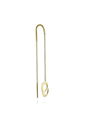 Pırlanta Hediyeler Orta Boy Kalp Zincir Küpe (Çift) (Sarı Altın Altın)