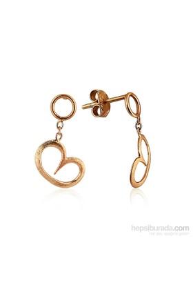 Pırlanta Hediyeler Orta Boy Kalp Sallantılı Küpe (Çift) (Pembe Altın)