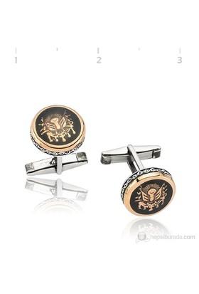 Gumush 925 Osmanlı Armalı Polyesterli Kol Düğmesi Cfl1350012