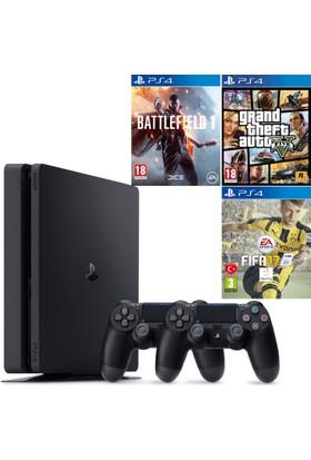 Sony Ps4 Slim 500GB + Fifa 17 + Gta 5 + Battlefield 1 + 2. Kol