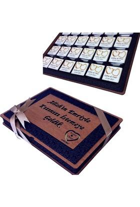 Hankutu Ahşap Kutuda Size Özel Kız İsteme Çikolatası
