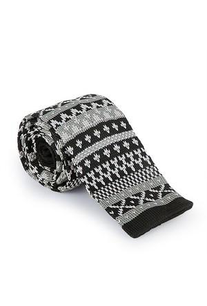 Biggfashion Siyah Desenli Örme Kravat