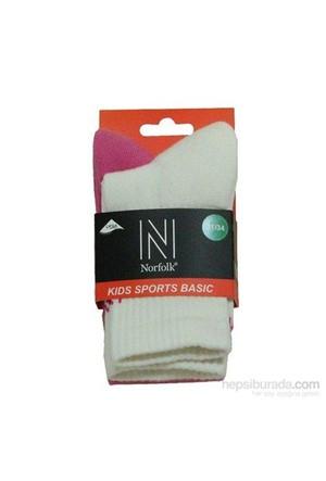 Norfolk Çocuk Çorap Beyaz Pembe