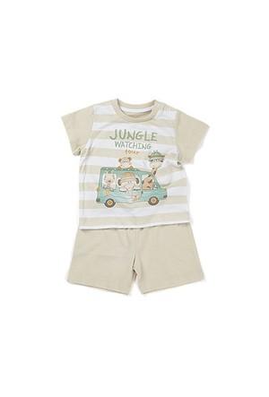 Zeyland Erkek Çocuk Bej T-Shirt-Şort Takım - K-61H1706