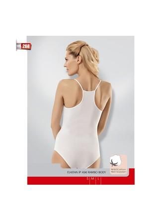 Namaldı Kadın Likralı Beyaz İp Askılı Spor Çıtçıtlı Body