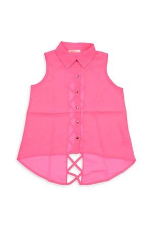 Modakids Nk Kids Kız Çocuk Arkası Çapraz Şeritli Gömlek 002-31734-022