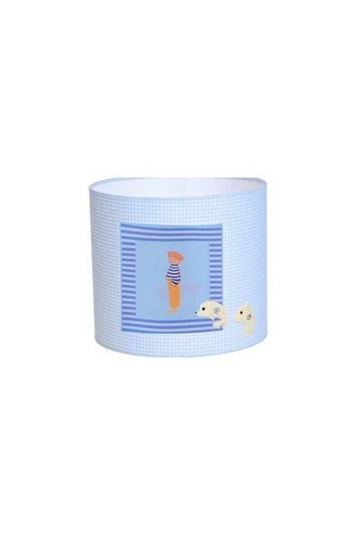 Bebemia El-Yapımı Bebek Odası Abajuru - Denizci Ruyası - Beyaz Ahşap Ayaklı