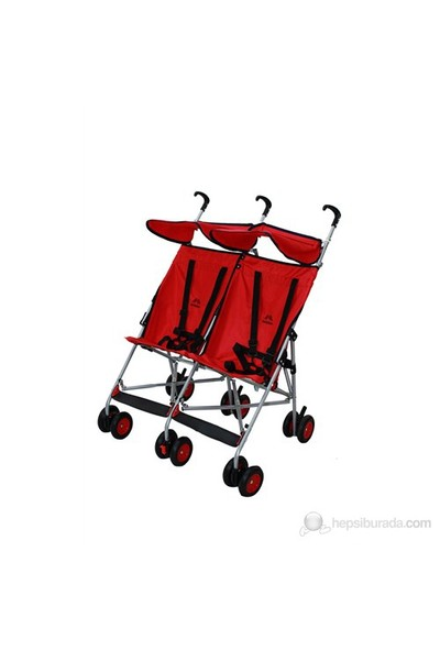 Aldeba 3030 İkiz Bebek Arabası - Kırmızı