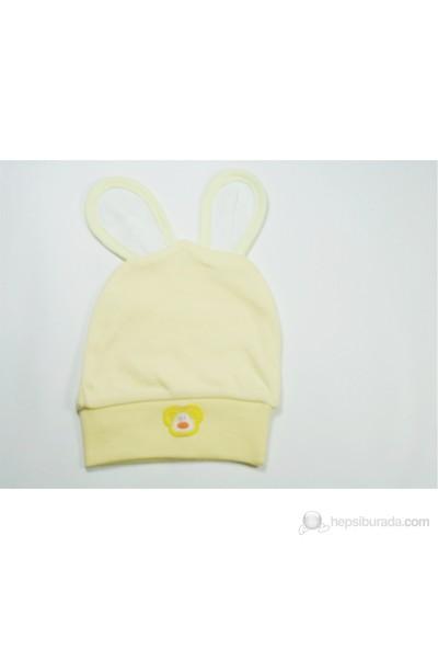 Sema Baby Yenidoğan Çift Kulaklı Bebek Şapka Sarı