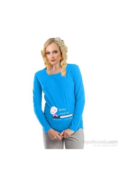 Elija Hamile Baby Loading T-shirt Uzun Kol / Turkuaz