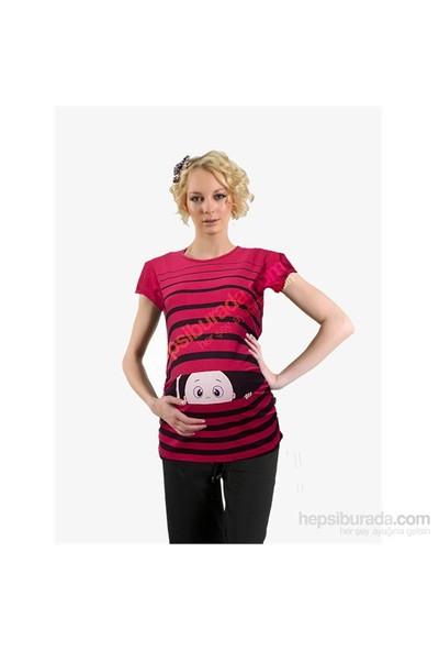 Elija Hamile Çizgili Bebek Esprili Kısa Kol T-Shirt / Kırmızı
