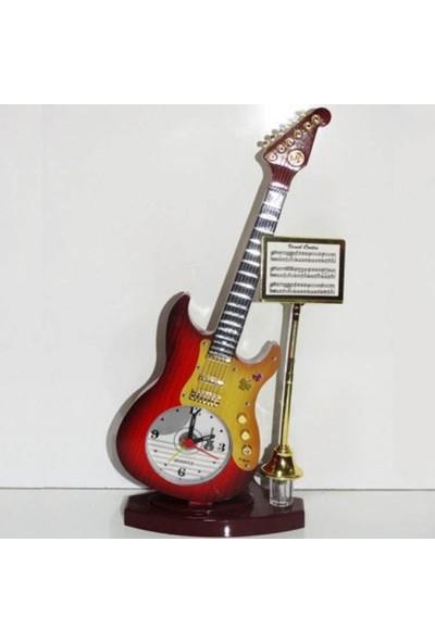 Hepsi Dahice Gitar Tasarımlı Dekoratif Masa Saati