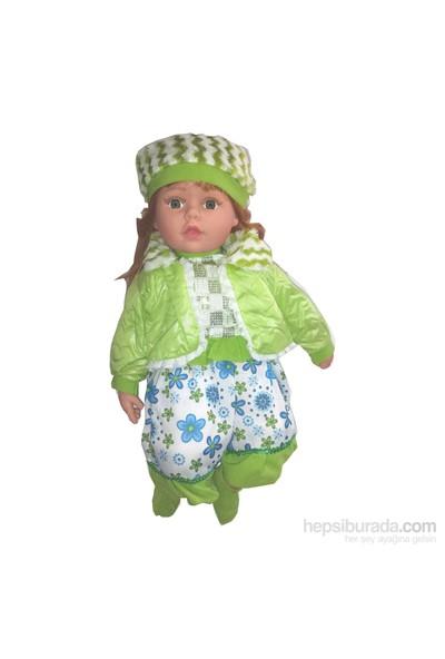 Cc Oyuncak Gerçek Yüzlü Yeşil Elbiseli Bereli 60 Cm Bebek