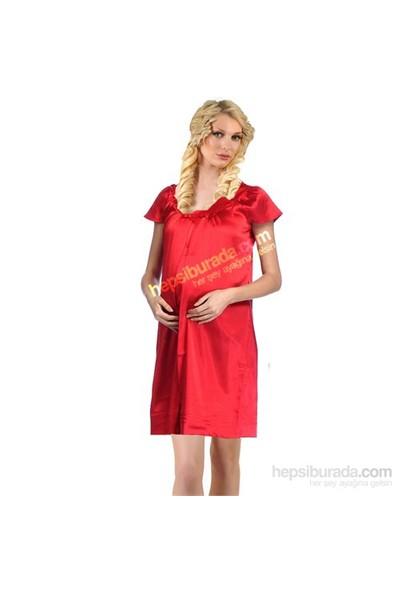 Elija Saten Hamile Gecelik / Kırmızı