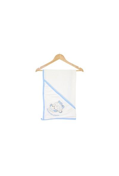Akyüz Bebe Kuzu Desenli Havlu Mavi