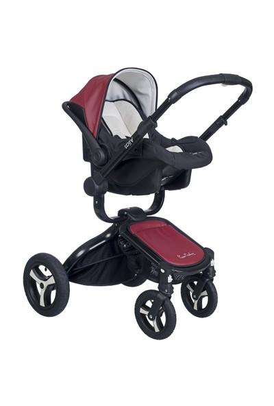 Pierre Cardin Alias Bey Travel Sistem Bebek Arabası Siyah-Bordo