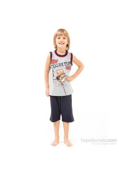 Roly Poly 2432 Askılı Kapri Erkek Çocuk Pijama Takımı Gri 3 Yaş (98 Cm)