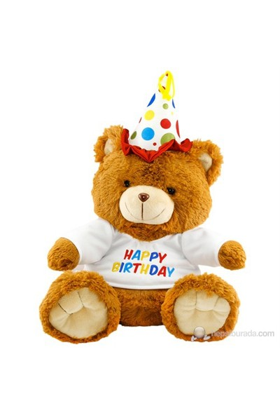Neco Plush Oturan Happy Birthday Peluş Ayı 60 cm
