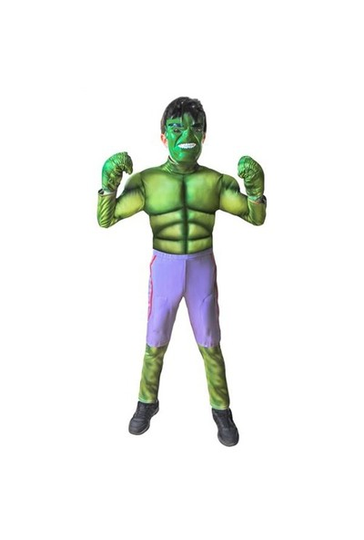 Mega Oyuncak Yeşil Dev Hulk Kostüm 3D Kabartma 10-12 Yaş