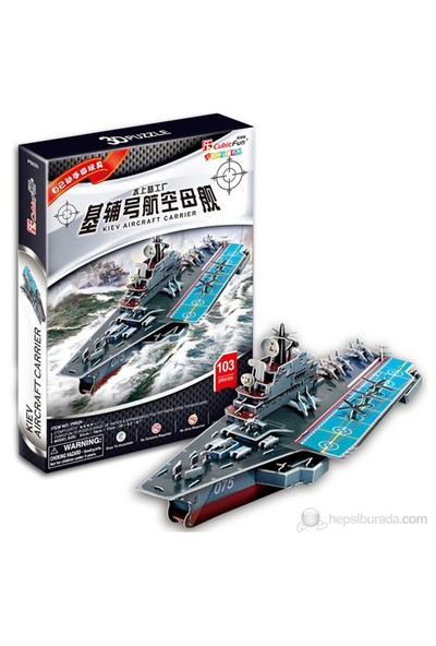 Cubic Fun 3D 103 Parça 3 Boyutlu Puzzle Süper Military Kiev Aircraft Carrier Gemi