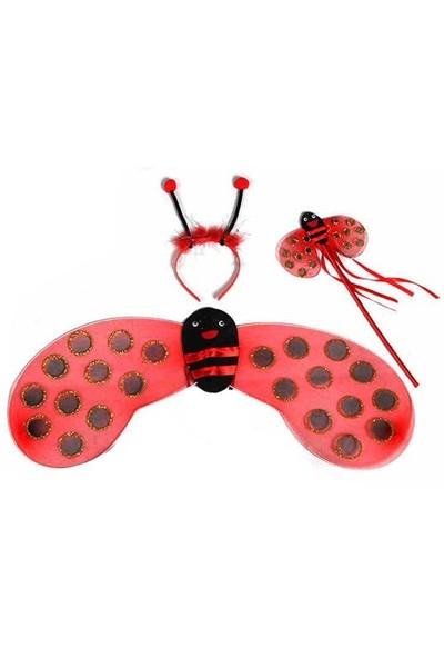 Pandoli Kırmızı Siyah Benekli Uğur Böceği Kanat Set