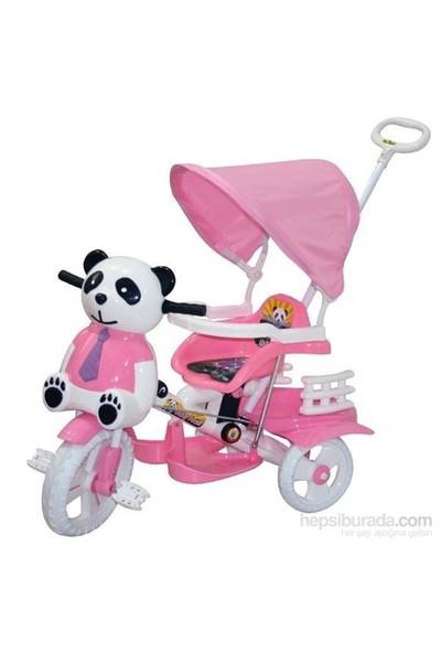 Baby Poufi Sevimli Panda Tenteli Çocuk Biskleti Pembe
