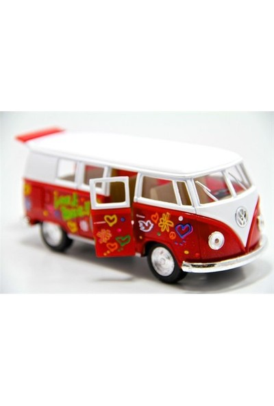 Kinsmart Volkswagen 1962 Çiçekli Kırmızı Minibüs (1:32 Diecast Metal Araba)