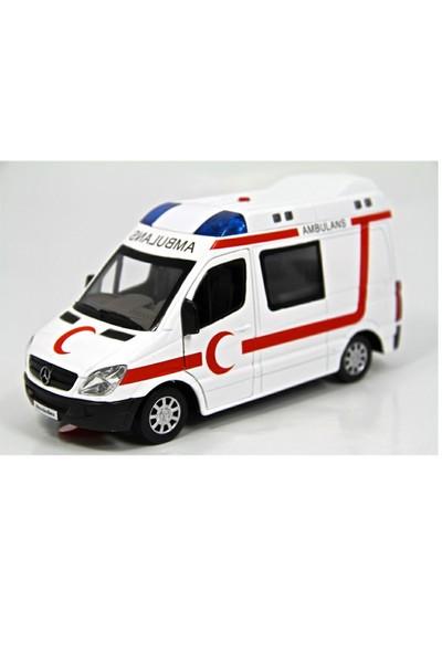 Vardem 1:32 Işıklı Sesli Metal Ambulans (Çek-Bırak Özellikli)