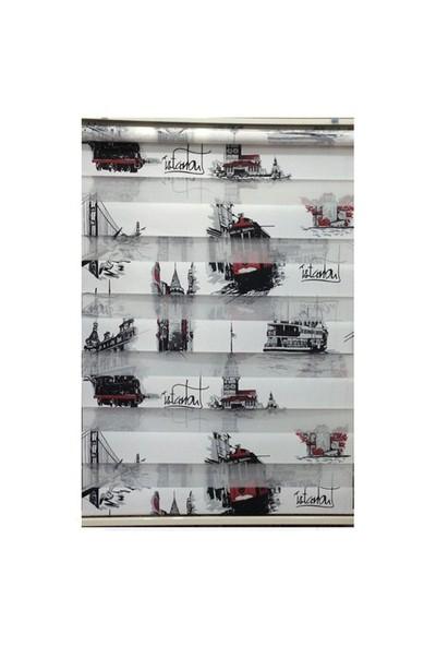 Brillant Siyah Kırmızı İstanbul Zebra Perde 100X200 cm