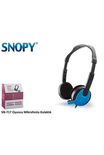 Snopy Sn-717 Siyah/Mavi Mikrofonlu Kulaklık
