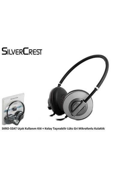Silver Crest Skro-32At Uçak Kullanım Kiti + Kolay Taşınabilir Lüks Gri Mikrofonlu Kulaklık