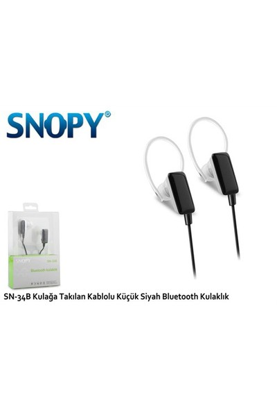 Snopy Sn-34B Çift Taraflı Kablolu Stereo Siyah Bluetooth Kulaklık