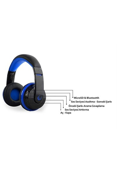 Rampage SN-RBT7 Oyuncu Mavi Bluetooth Kulaklık