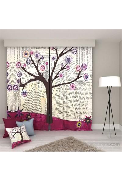 Erenev Gazetede Ağaç Pano Desen Fon Perde Sağ