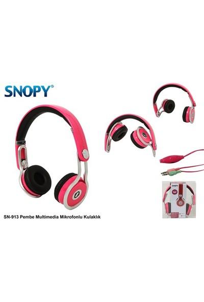 Snopy SN-913 Pembe Multimedia Mikrofonlu Kulaklık