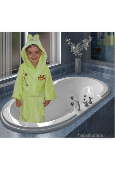Elegans Kapşonlu Çocuk Bornozu 1-2 Yaş Yeşil
