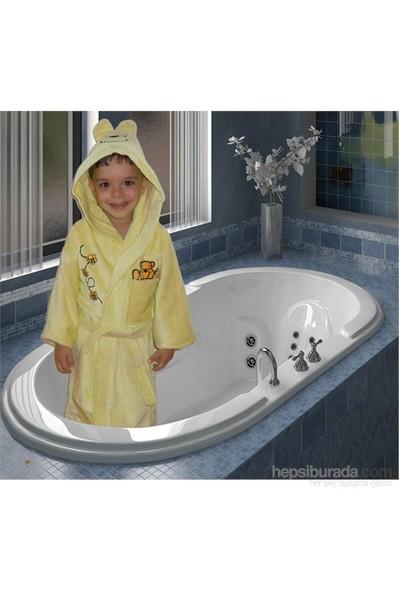 Elegans Kapşonlu Çocuk Bornozu 3-4 Yaş Sarı