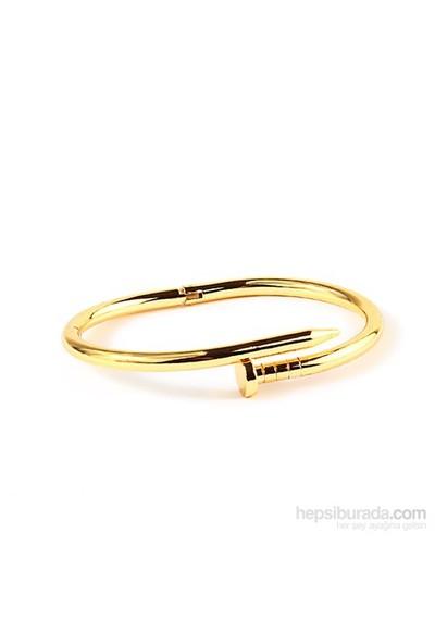 Elia Altın Renkli Çivi Çelik Bileklik Blk40