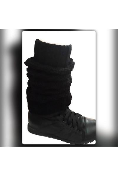 Pafuli El Örgüsü Siyah Tozluk