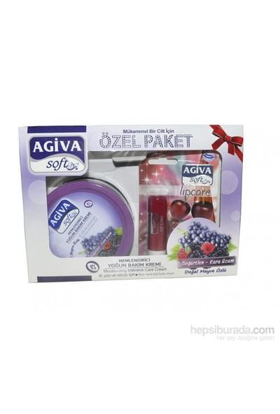 Agiva Soft 300Ml Böğürtlenli El, Yüz Ve Vücut Kremi + Lipcare Set
